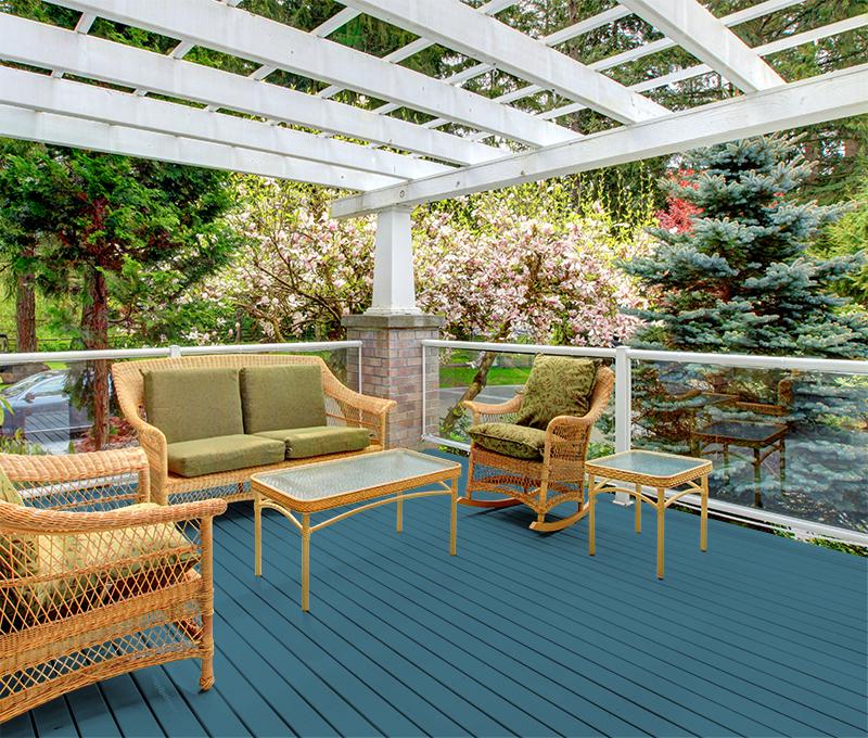 blue wood deck color